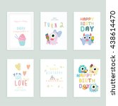 birthday card set. | Shutterstock .eps vector #438614470