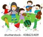 music festival of vegetables... | Shutterstock .eps vector #438621409