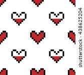 geek valentine's day pixel... | Shutterstock .eps vector #438625204