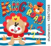cartoon cute little lion... | Shutterstock .eps vector #438671068