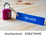 words secure written on tag... | Shutterstock . vector #438674440
