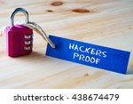 words hackers proof written on... | Shutterstock . vector #438674479