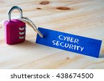 words cyber security written on ... | Shutterstock . vector #438674500