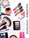 make up brush  eye shadow ... | Shutterstock . vector #438681934