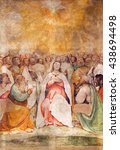 Small photo of BRESCIA, ITALY - MAY 22, 2016: The fresco of Pentecost in church Chiesa di San Francesco d'Assisi by Girolamo Romani - Romanino (1484 - 1559).