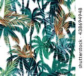 tropical summer print with palm.... | Shutterstock .eps vector #438694948
