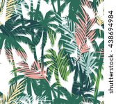 tropical summer print with palm.... | Shutterstock .eps vector #438694984