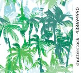 tropical summer print with palm.... | Shutterstock .eps vector #438694990