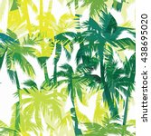tropical summer print with palm.... | Shutterstock .eps vector #438695020