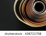 the old roll paper put on dark... | Shutterstock . vector #438721708