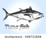 vector tuna fish hand drawn... | Shutterstock .eps vector #438721858