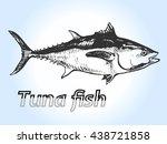 vector tuna fish hand drawn... | Shutterstock .eps vector #438721858