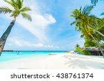 beautiful tropical maldives... | Shutterstock . vector #438761374