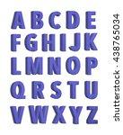 violet fabric knitted alphabet. ... | Shutterstock . vector #438765034