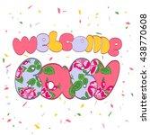 word welcome baby.vintage... | Shutterstock . vector #438770608