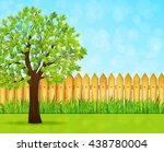 garden background with green... | Shutterstock .eps vector #438780004