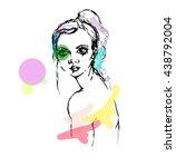 beautiful girl portrait vector. ... | Shutterstock .eps vector #438792004