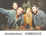 group of friends sitting on the ... | Shutterstock . vector #438803410