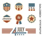 vintage usa badges set. 4 july. ... | Shutterstock .eps vector #438807490