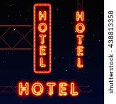 neon city banner hotel  set... | Shutterstock .eps vector #438813358