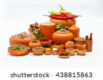 group of indian spices and... | Shutterstock . vector #438815863
