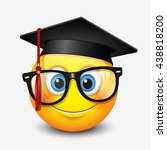 cute smiling emoticon wearing... | Shutterstock .eps vector #438818200