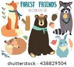 forest friends cute woodland... | Shutterstock .eps vector #438829504