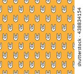 pattern with rock n roll hand...   Shutterstock .eps vector #438834154