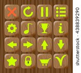 set of wooden icons on wooden...