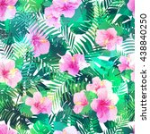 seamless pattern with exotic... | Shutterstock .eps vector #438840250