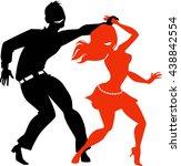 young couple dancing salsa  eps ... | Shutterstock .eps vector #438842554