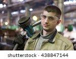 portrait factory welder worker... | Shutterstock . vector #438847144