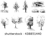 set of trees and bushes drawn... | Shutterstock .eps vector #438851440