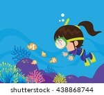 scuba diving. girl swimming... | Shutterstock .eps vector #438868744