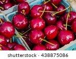 box of bing cherries for sale...   Shutterstock . vector #438875086