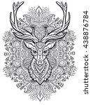 ornament deer vector. beautiful ... | Shutterstock .eps vector #438876784