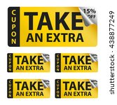take an extra sale yellow... | Shutterstock .eps vector #438877249