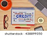 notebook with drawing credit... | Shutterstock . vector #438899350