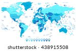 detailed world map in colors of ... | Shutterstock .eps vector #438915508