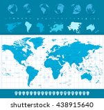 world map  globes and... | Shutterstock .eps vector #438915640