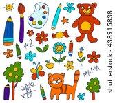 kindergarten doodle pictures on ... | Shutterstock .eps vector #438915838
