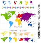 world map and colorful... | Shutterstock .eps vector #438920248