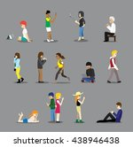 various people poses with... | Shutterstock .eps vector #438946438