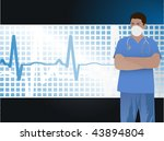 doctor with ekg and grid ... | Shutterstock .eps vector #43894804
