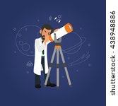 astronomy concept. scientist... | Shutterstock .eps vector #438948886