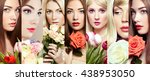 beauty collage. faces of women. ... | Shutterstock . vector #438953050