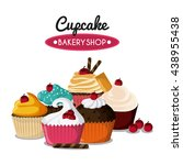 decorated cupcake. sweet icon.... | Shutterstock .eps vector #438955438