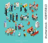 set of isometric business... | Shutterstock .eps vector #438955813