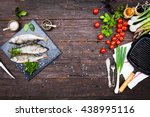 fresh fish with aromatic herbs  ... | Shutterstock . vector #438995116