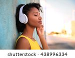 Pretty girl listening music...